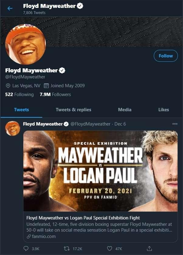Floyd Mayweather twitter
